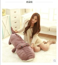 Stuffed animal crocodile dark purple color crocodile plush toy about 160cm doll huge 63 inch  toy throw pillow  cushion toy t714