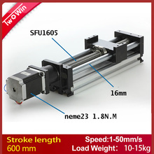 Linear Actuator system Linear Module Table 600mm travel length CNC Guide 1605 Ballscrew Sliding Table(China)