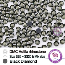 DMC SS6 SS10 SS16 SS20 SS30 Flat Back Beads Cheap Rhinestones in Black Diamond Color
