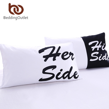 BeddingOutlet Bed Pillow Case Soft Pillowcase Cover His Her Side Gift for Him or Her Black Red Teal 2Pcs Bedding