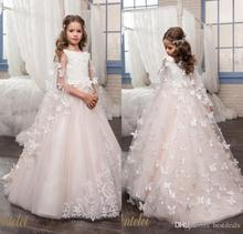 New 2017 Blush Pink Ball Gown Flower Girl Dresses For Wedding  Tulle Beads First Communion Dresses Girl Pageant Gown F301