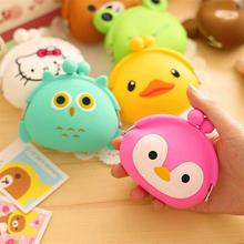 1pc New Cute Girls Mini Coin Purse Brand Child Silicone Round Small Pouch Wallet Case Box Rubber Key Animal Bag for Earphone