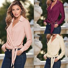 Women Silk Office OL Satin Slim Tie Knot Shirt Loose Casual Blouse Wrap Tops Tee