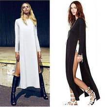 Women Casual BOY Style Solid Two Side High Split Blouse shirt Tops Long Dress(China)