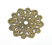 "Doreen Box Lovely Antique Bronze Filigree Flower Wraps Connectors 4.7x4.7cm(1-7/8""x1-7/8""), sold per lot of 30 (B16286)(China)"