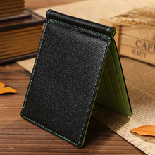 Quality PU Leather Fashion Men Money Clips Green Gray Brown 2 Folded Open Clamp For Dollars With Credit Card Slots Free Shipping(China)