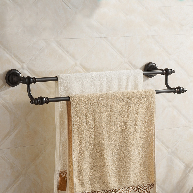 Bathroom Black Double Towel Bar 60cm brass Black Towel Rack Towel Shelf Wall Mounted Bathroom Storage Hardware<br><br>Aliexpress