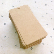 New 100Pcs DIY Blank price Hang tag Kraft Gift Brown Kraft Paper Tags Label Luggage Wedding Note+String