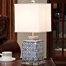 Crystal Bedroom Table Lamp Blue and white porcelain Living Room Decoration Abajur Table lamp For Bedroom Lamparas De Mesa(China)