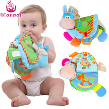 UCanaan Baby Rattles Teether Toys Cute Donkey Animal Cloth Book For Toddlers Learning Educational Toys Best Gifts for Kids(China)