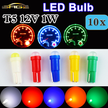 T5 LED 10 PCS in One Lot  SMD Bulb Ceramic Dashboard Gauge Instrument Auto Light Car Lamp DC12V