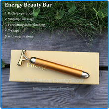 Japan Hotsale 24K Gold Face Skin Massage Roller Body Firming Massager Electric Energy Beauty Bar(China)