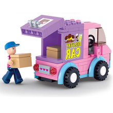 Cute Girl Building Supermarket Delivery Car Blocks Toys Compatible with Lego DIY car-styling Toys For Children Gift