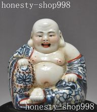christmas old Chinese buddhism wucai Porcelain wealth happy laugh Maitreya Buddha statue halloween