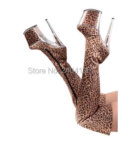 Sexy Women Nightclub Thigh High Boots DJ Performance Leopard Boots 20CM Metal High Heel 9CM Platform women Over-the-Knee Boots <br><br>Aliexpress