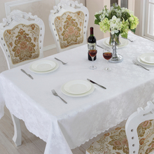 Europe Style  Waterproof Oilproof Table Cloth High Quality Pure White Tablecloth Apply Outdoor Home Hotel Banquet ZM-14