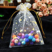 Wholesale 100pcs/lot 9x12cm Moon Star Organza Bags Small Wedding Candy Jewelry Packaging Bag Favor Drawstring Gift Bag Pouches(China)