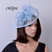 2017 NEW 31 colours Hot pale blue Feather sinamay fascinator hat for Wedding,Ascot Races,Party,Kentucky Derby,Melbourne Cup.