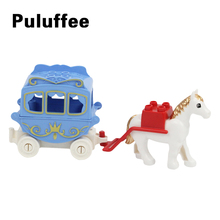 Princess Carriage Building Blocks Compatible Duplo Horse Trailer Accessories Brick set Children DIY Educational Toys