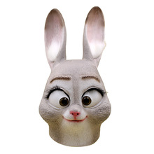 2016 Movie Zootopia Bunny Judy Hopps Latex Full Head Rabbit Animal Masks Party Halloween Cosplay Props Accessories Fancy Ball