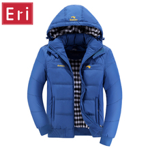 2017 New Winter Jacket Coat Men Solid Stylish Hooded Hat Detachable Thicken Warm Parka Male Cotton-padded Slim Fit Parkas X357