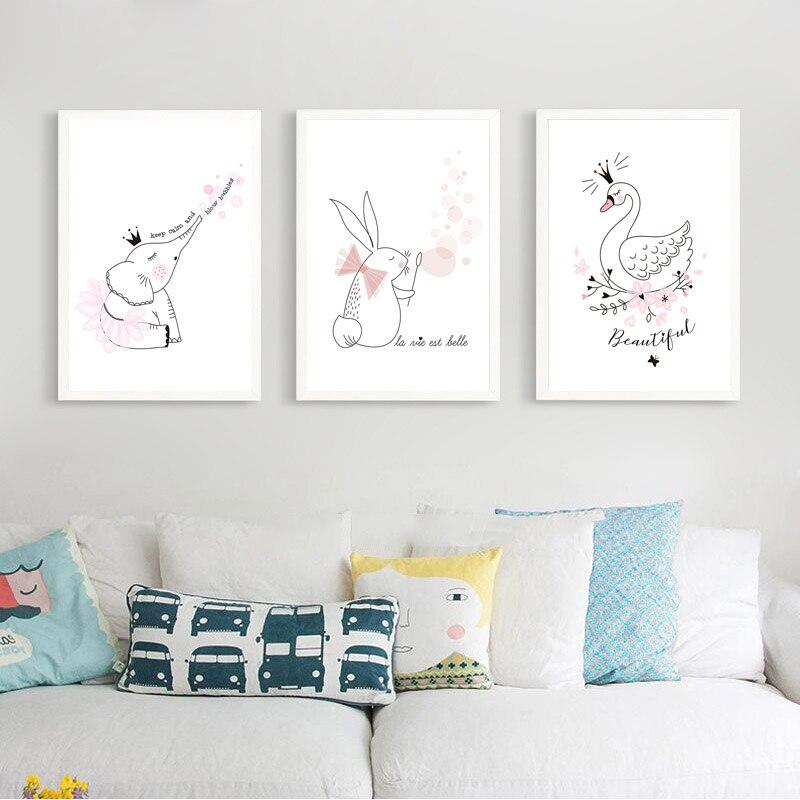 Nordic-Quarto-Dos-Mi-dos-Bonitos-Animal-Posters-E-Impress-es-Rosa-Cisne-coelho-Arte-Da (1)