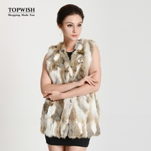 2017 New Arrival Real Rabbit Fur Vest Lady Luxury Fashion Fur Vest Free shipping THP134