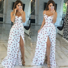 2017 Fashion Boho summer women long Cherry printing white strapless floor length dresses  party sexy dresses Ladies beach