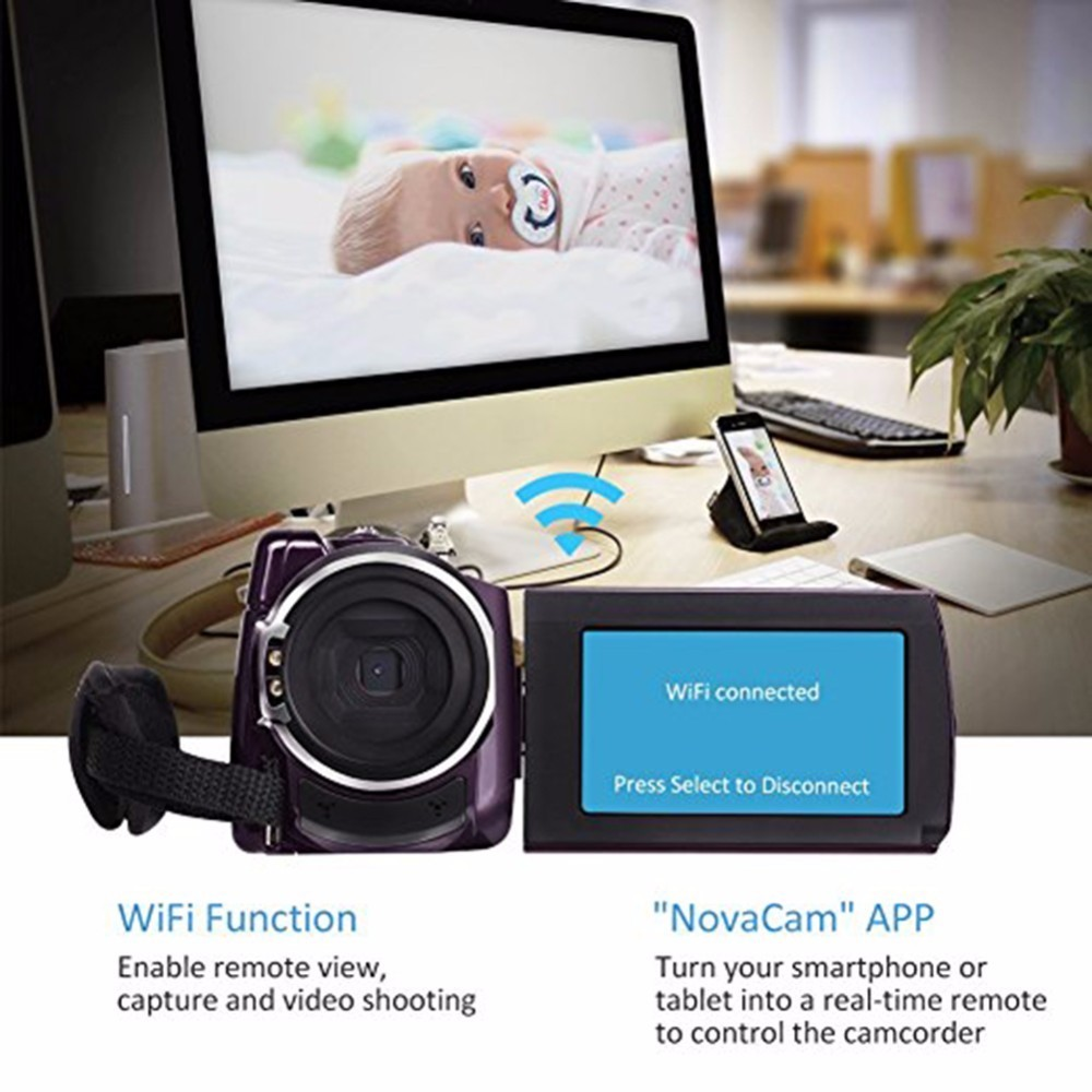 4K Camcorder Video Camera Ultra HD 60 FPS Digital Video Recorder Wifi night Vision LCD Touchscreen External with Wide Angle Lens 7
