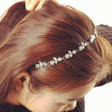 1 Chic Women Lady Elastic Fashion Metal Rhinestone Head Chain Jewelry Headband Hairband Hair Band Accessories