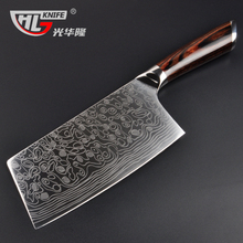 high quality laser damascus pattern kitchen knife imported handle full tang Chinese cleaver bone chopping butcher knife(China)