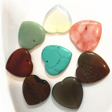 New 2018 Natural Stone Pendants 35mm Heart Pendant Turquoises Jaspers Opal Rose Quartzs Aventurine Healing Spiritual Beads 10Pcs(China)