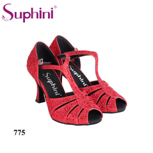 Special Free Shipping 2017 Suphini Latin Dance Shoes Rhinestone Red 3inch Latin Dance Shoes(China)