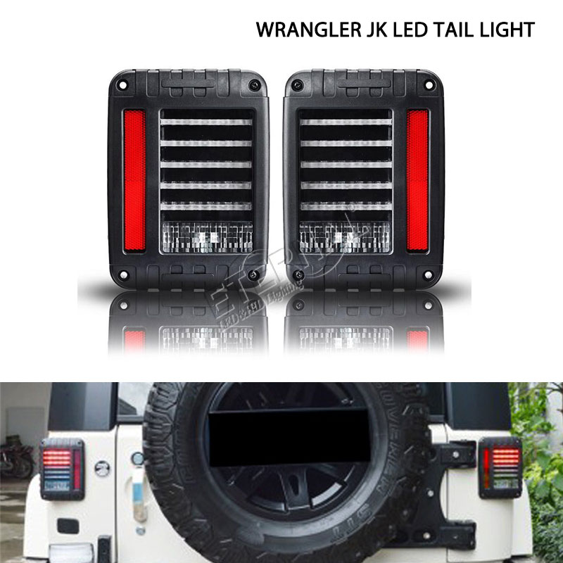pair LED tail light for off road Wrangler TJ JK 07-15 run turn reverse brake light LED rear lamp high output low consumption<br>
