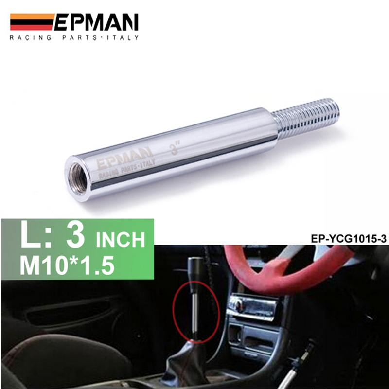 Silver Shift Knob Extension For Manual Gear Shifter Lever 3in M10X1.5 EP-YCG1015-3