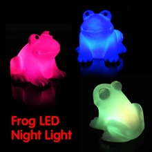 Magic LED Simply Animal Designed Cute Frog Night Light Novelty Lamp LED Changing Colors Colorful Promotion Electronic Pet Toys