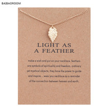 Fashion Jewelry New Gold-color Leaf Light As A Feather Alloy Pendant Short Necklace(China)