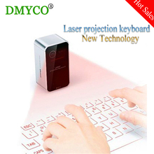 DMYCO 2pc Black Bluetooth Projection keyboards Mini wireless virtual laser keyboard air mouse for smart phone Tablet or Game pc