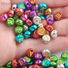 Hisenlee 100Pcs Random Mixed Colors Russian Letters Alphabet Acrylic Round Spacer Beads For Jewelry Making DIY Bracelet(China)