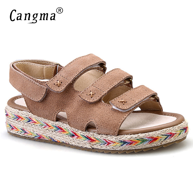 CANGMA Luxury Top Quality Women Genuine Leather Sandals Fashion Handmade Summer Womens Designer Flat Shoes 2017 Schoenen Dames<br>