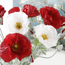 1Pc Artificial big Poppy flower with leaves fleurs artificielles for autumn fall Home party Decoration wreath fake silk flowers(China)