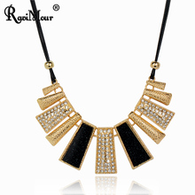 RAVIMOUR Collier Femme Fashion Necklaces & Pendants PU Leather Rope Resin Statement Choker for Women Mujer Accessories Jewelry