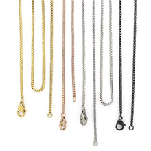 wholesale chain 18'' 20'' 24'' 28'' 32'' 1.5mm silver/gold/rose gold/balck stainless steel box chain necklace