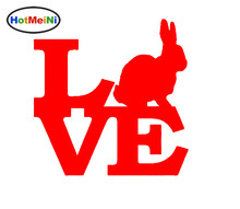 HotMeiNi Wholesale 20pcs/lot Rabbit Love Vinyl Decal For Truck Bumper Car Sticker Cotton Tail Beagle Bunny Easter Breeding Box(China)
