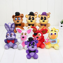 Pendant FNAF in stock five nights at freddy fox bear toys plush dolls which kids love stuffed soft toys 14cm high