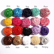 "2015 New 1.97"" Multilayer Satin Rosettes Rose Flowers for Headband Hair Acessories DIY Photo Props 20colors in stock 40pcs/lot"