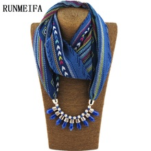 2017 Women Fashion Charms Scarf Jewellery Pendant Cachecol Jewelry Scarves Necklace Scarf Warm Alloy Necklace Tassel Beads