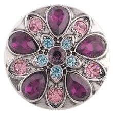 Newest purple crystal snaps button jewelry metal Snap Button charms jewelry fit 18mm bracelet bangles snap jewelry KC5356(China)