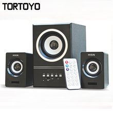 1 Set Multi Media Subwoofer 3D Surround Stereo Bass USB Speaker Loudspeaker for Computer PC with Remotor TF Card Slot FM Radio