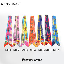 MENGLINXI Hot Sale Bag Twilly 2017 New Brand Women Small Twill Silk Scarf Horse Print Headdress Handle Bag Ribbon Long Scarves